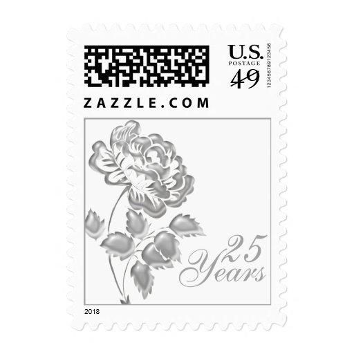 25to Franqueo floral blanco y de plata del anivers