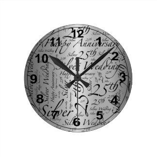 25to Gráfico del arte de la palabra del Reloj Redondo Mediano