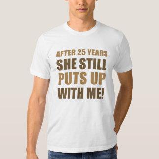 25to Humor del aniversario para los hombres Polera