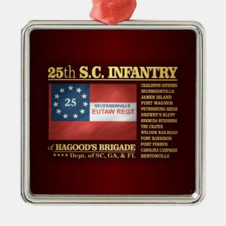 25to Infantería de Carolina del Sur (BA2) Adorno Navideño Cuadrado De Metal