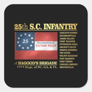 25to Infantería de Carolina del Sur (BA2) Pegatina Cuadrada
