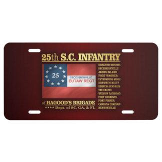 25to Infantería de Carolina del Sur (BA2) Placa De Matrícula