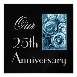 25to Invitación del aniversario - rosas AZULES