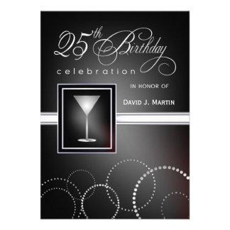 25to Invitaciones de la fiesta de cumpleaños - neg Invitacion Personalizada