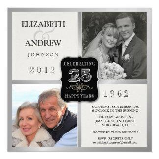 25to Invitaciones de lujo de la foto del vintage 2 Invitaciones Personalizada