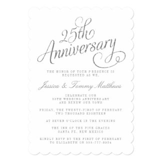 """25to Invitaciones del aniversario de bodas de Invitación 5"""" X 7"""""""