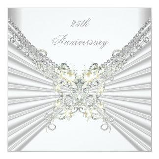 """25to Joya de plata blanca 2 de la perla del Invitación 5.25"""" X 5.25"""""""