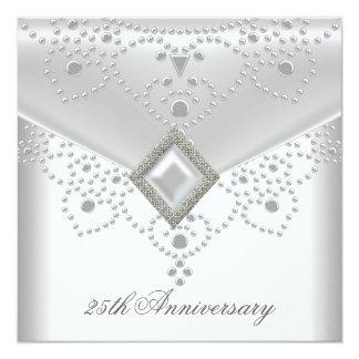 """25to Joya de plata blanca de la perla de la capa Invitación 5.25"""" X 5.25"""""""