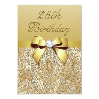 """25to Lentejuelas y arco del oro del cumpleaños Invitación 5"""" X 7"""""""