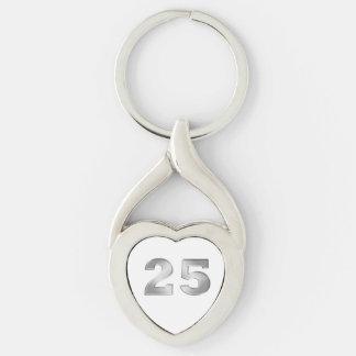 25to Llavero de plata del aniversario Llavero Plateado En Forma De Corazón