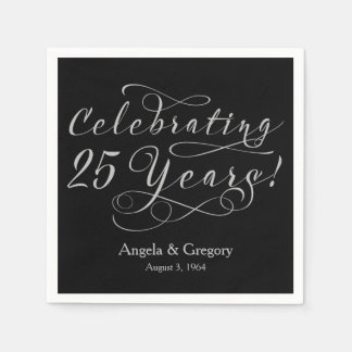 25to negro personalizado de la plata del servilleta de papel