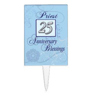 25to Número de plata del aniversario en azul Decoración De Tarta