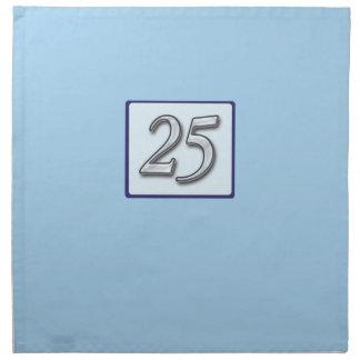 25to Número de plata del aniversario en azul Servilleta