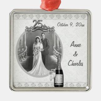 25to Ornamento del recuerdo de la foto del Adorno Cuadrado Plateado