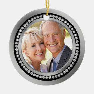 25to ornamento impreso del aniversario de boda de adorno navideño redondo de cerámica