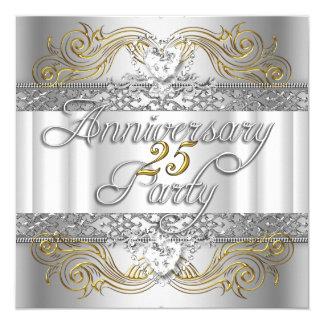 """25to Oro blanco de la plata del aniversario de Invitación 5.25"""" X 5.25"""""""