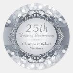 25to pegatina de plata del aniversario de Bokeh