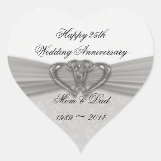 25to pegatina del aniversario de boda del damasco