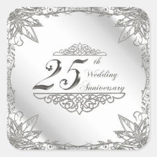 25to Pegatinas del aniversario de boda Pegatina Cuadrada