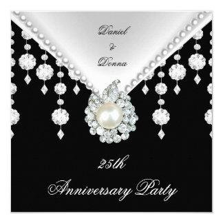 """25to Perla blanca negra de plata 2 del aniversario Invitación 5.25"""" X 5.25"""""""