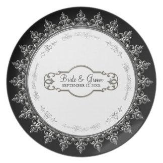 25to Placa barroca personalizada aniversario del r Plato De Cena