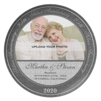 25to Placa de la foto del aniversario de boda Plato De Cena
