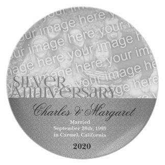 25to Placa de la foto del aniversario de bodas de  Plato De Comida