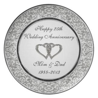 25to Placa de la melamina del aniversario de boda Plato De Cena