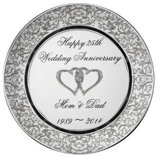 25to Placa de la porcelana del aniversario de boda Plato De Cerámica