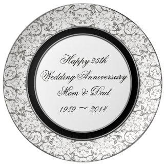 25to Placa de la porcelana del aniversario de boda Platos De Cerámica