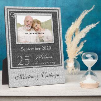 25to Placa de plata de la foto del aniversario