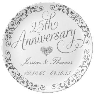 25to Placa decorativa del aniversario de bodas de Plato De Cerámica