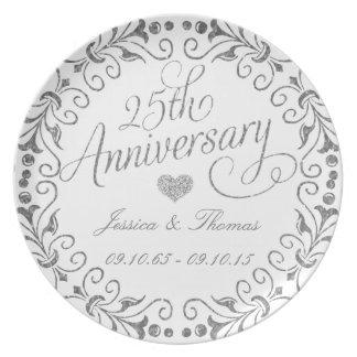 25to Placa decorativa del aniversario de bodas de Platos