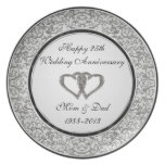 25to Placa del aniversario de boda Plato De Cena