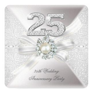 """25to Plata de la perla de la fiesta de aniversario Invitación 5.25"""" X 5.25"""""""