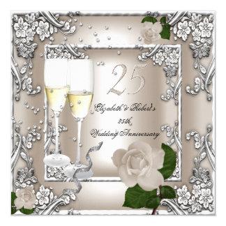 """25to Plata subió crema del boda del aniversario Invitación 5.25"""" X 5.25"""""""