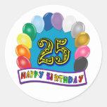 25to Regalos de cumpleaños con diseño clasificado Etiqueta Redonda