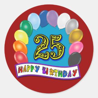 25to Regalos de cumpleaños con diseño clasificado Pegatina Redonda