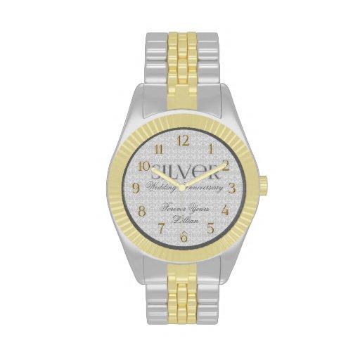 25to Reloj de encargo de Annivsersary de la bodas