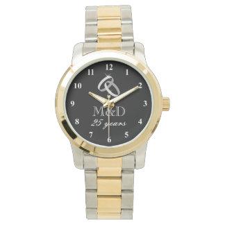 25to Reloj del aniversario de bodas de plata para