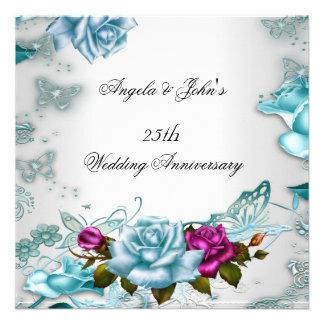 25to Rosa floral azul del aniversario de boda Invitaciones Personalizada