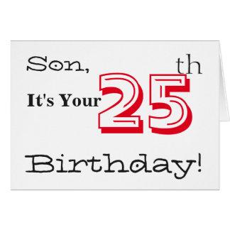 25to saludo del cumpleaños del hijo en rojo y tarjeta de felicitación