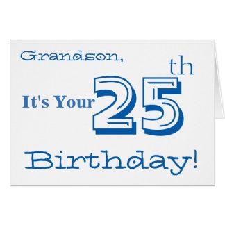 25to saludo del cumpleaños del nieto en azul y tarjeta de felicitación