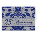 25to saludo del negocio del aniversario del azul tarjetón