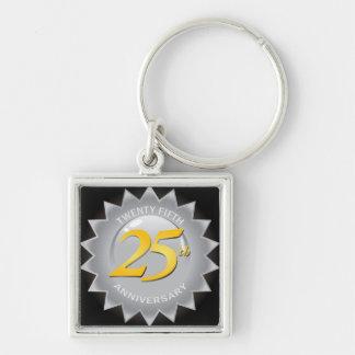 25to Sello de plata del aniversario Llavero Cuadrado Plateado