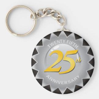25to Sello de plata del aniversario Llavero Redondo Tipo Pin