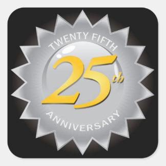 25to Sello de plata del aniversario Pegatina Cuadrada