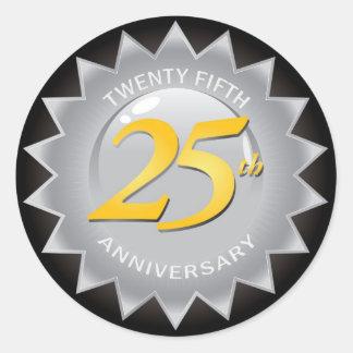 25to Sello de plata del aniversario Pegatina Redonda