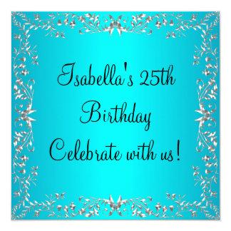 25to Turquesa del cumpleaños y metal floral de Invitación Personalizada
