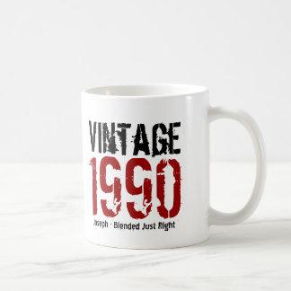 25to Vintage del cumpleaños 1990 o cualesquiera Taza Básica Blanca